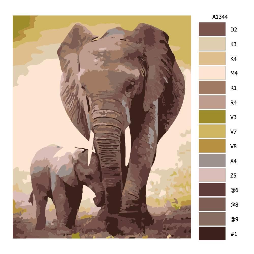Malování podle čísel Slonice se slůnětem