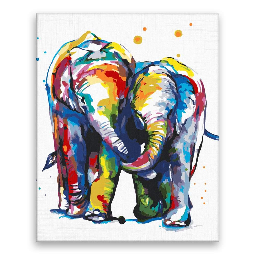 Malování podle čísel Sloní pár