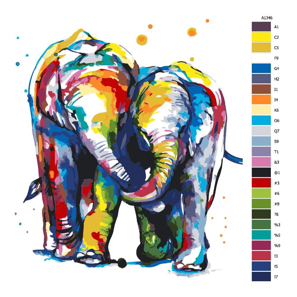 Návod pro malování podle čísel Sloní pár