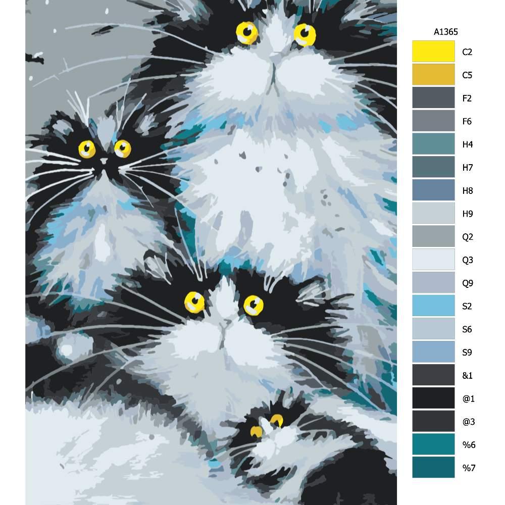 Návod pro malování podle čísel Kočičí rodinka