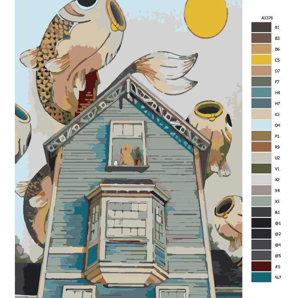 Návod pro malování podle čísel Rybí migrace