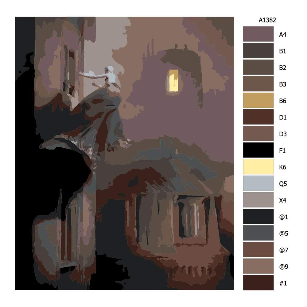 Návod pro malování podle čísel Děsivá za okny