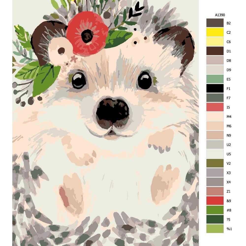 Malování podle čísel Ježek s květinou