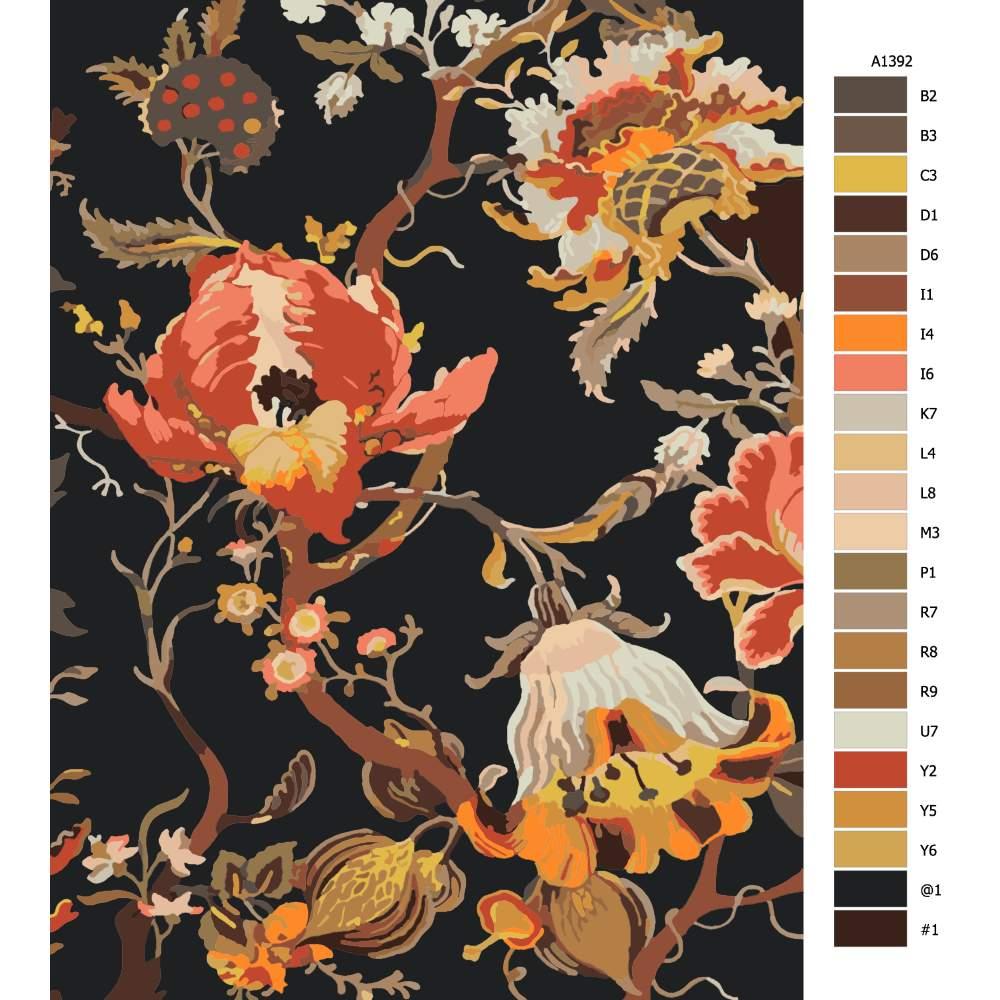 Návod pro malování podle čísel Ďáblovy květy