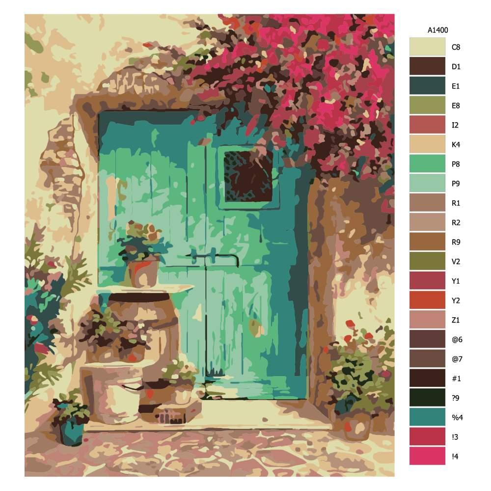 Návod pro malování podle čísel Kytky okolo dveří