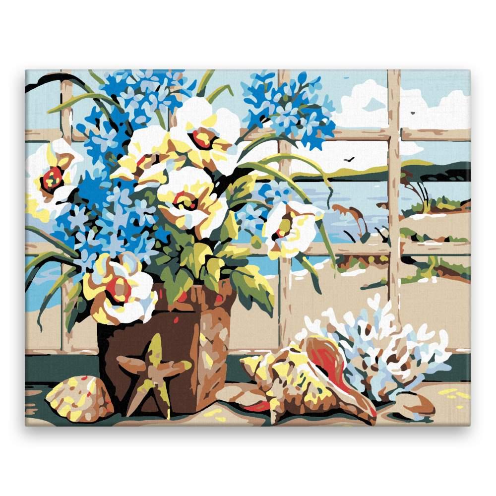 Malování podle čísel Květiny s výhledem na moře