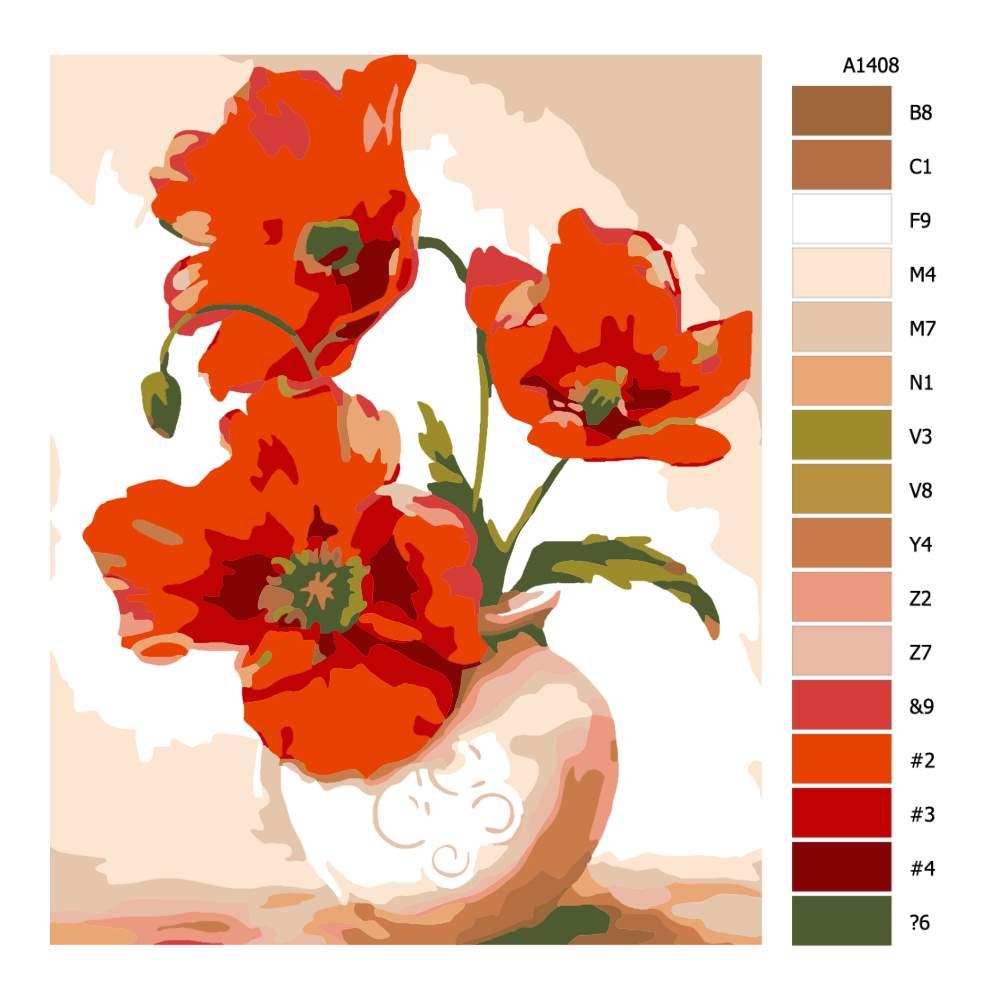 Malování podle čísel Vlčí mák ve váze