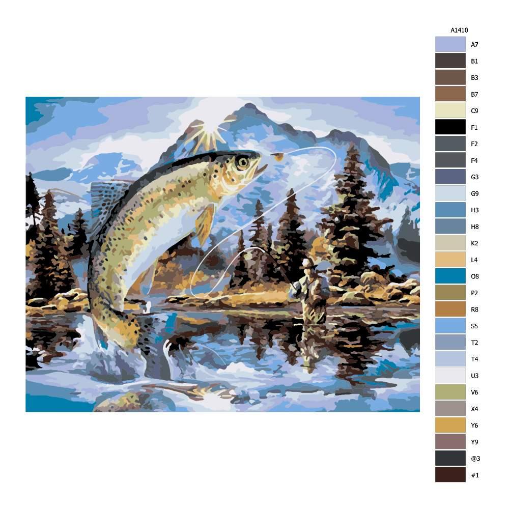 Návod pro malování podle čísel Ryba a rybář