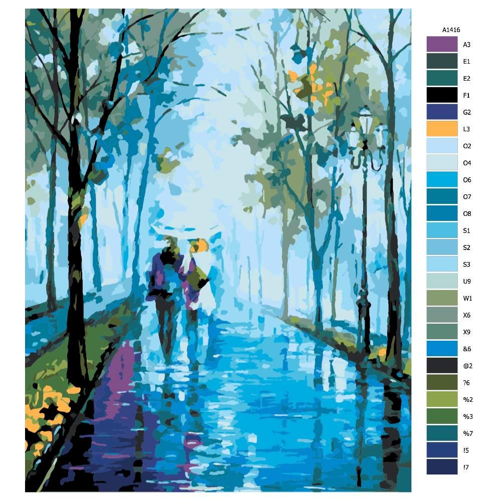 Návod pro malování podle čísel Procházka v dešti