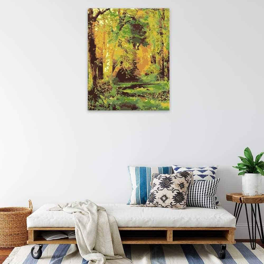 Malování podle čísel Pohled z lesa