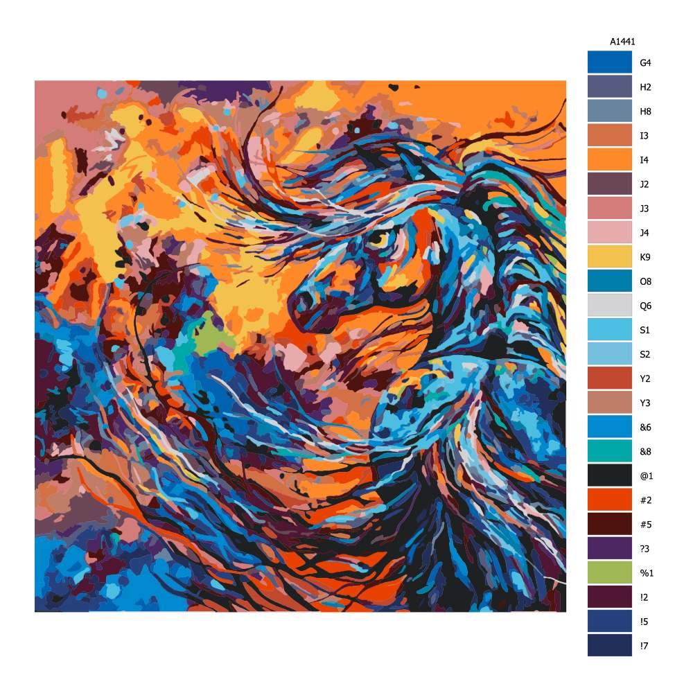 Návod pro malování podle čísel Rozohněný hřebec