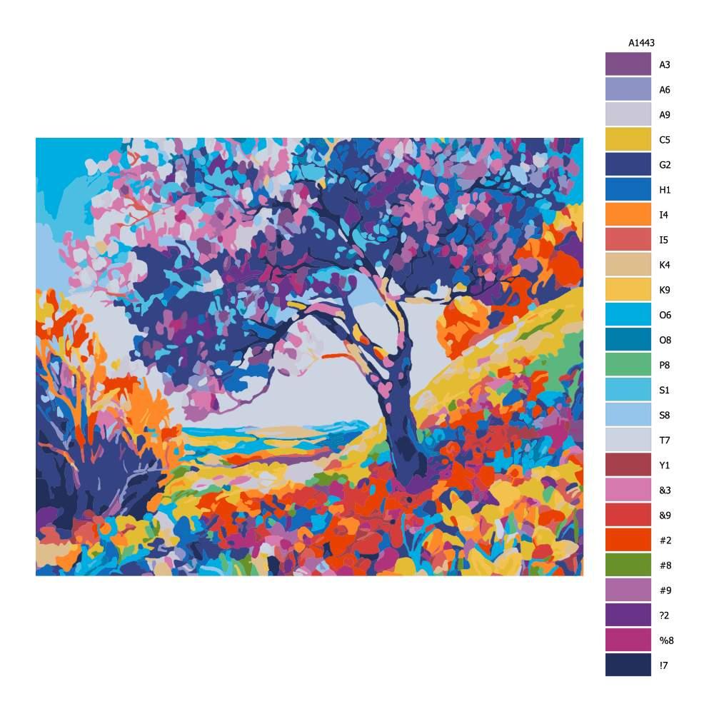 Návod pro malování podle čísel Barevná krása přírody