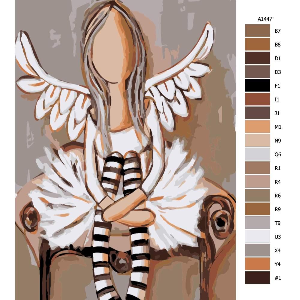 Návod pro malování podle čísel Anděl s pruhovanými podkolenky
