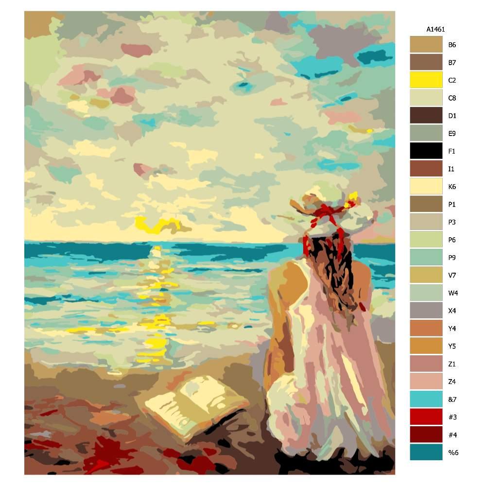 Návod pro malování podle čísel Dívka s knihou na pláži