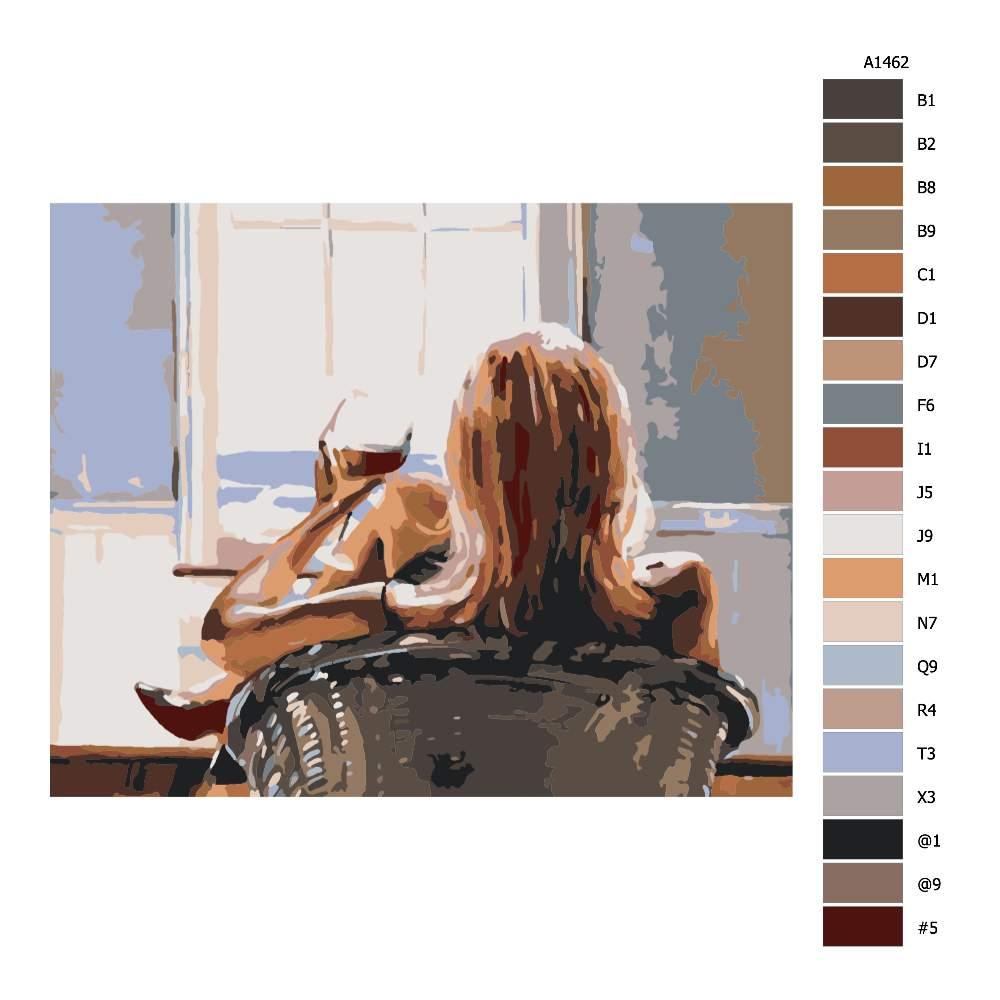 Návod pro malování podle čísel Se sklenkou vína
