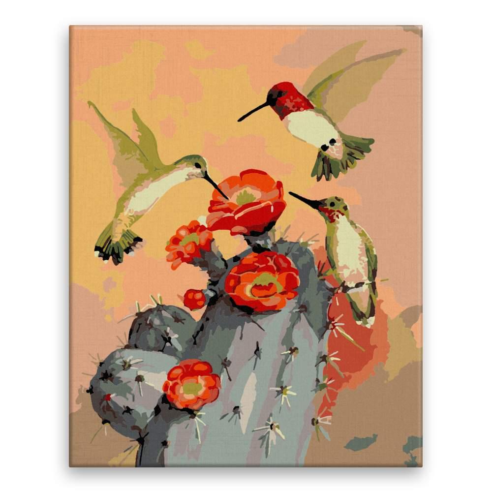 Malování podle čísel Kolibříci za soumraku