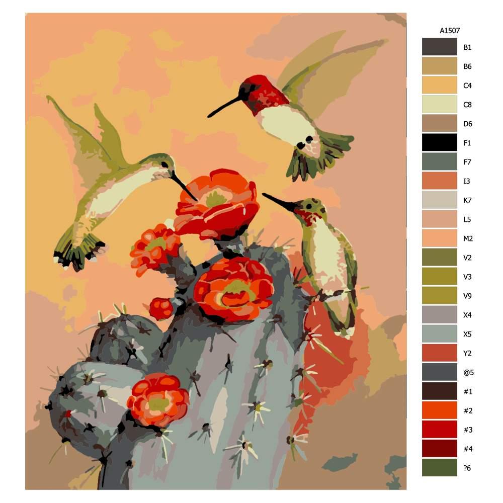 Návod pro malování podle čísel Kolibříci za soumraku