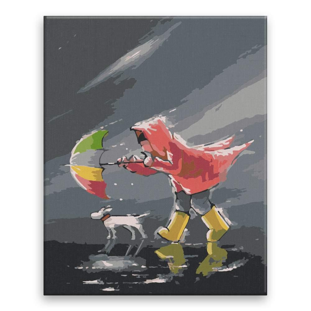Malování podle čísel V nečase se psíčkem