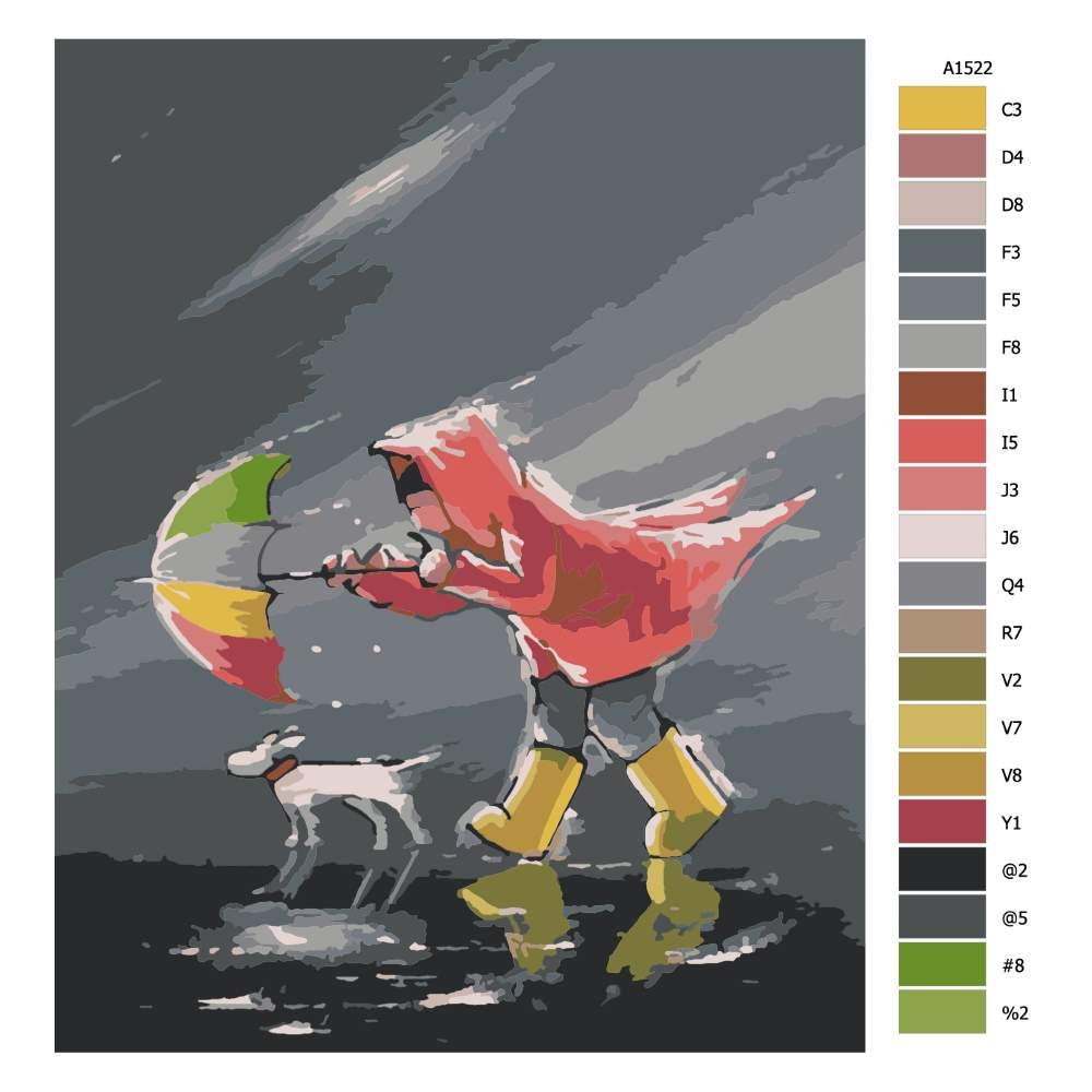 Návod pro malování podle čísel V nečase se psíčkem