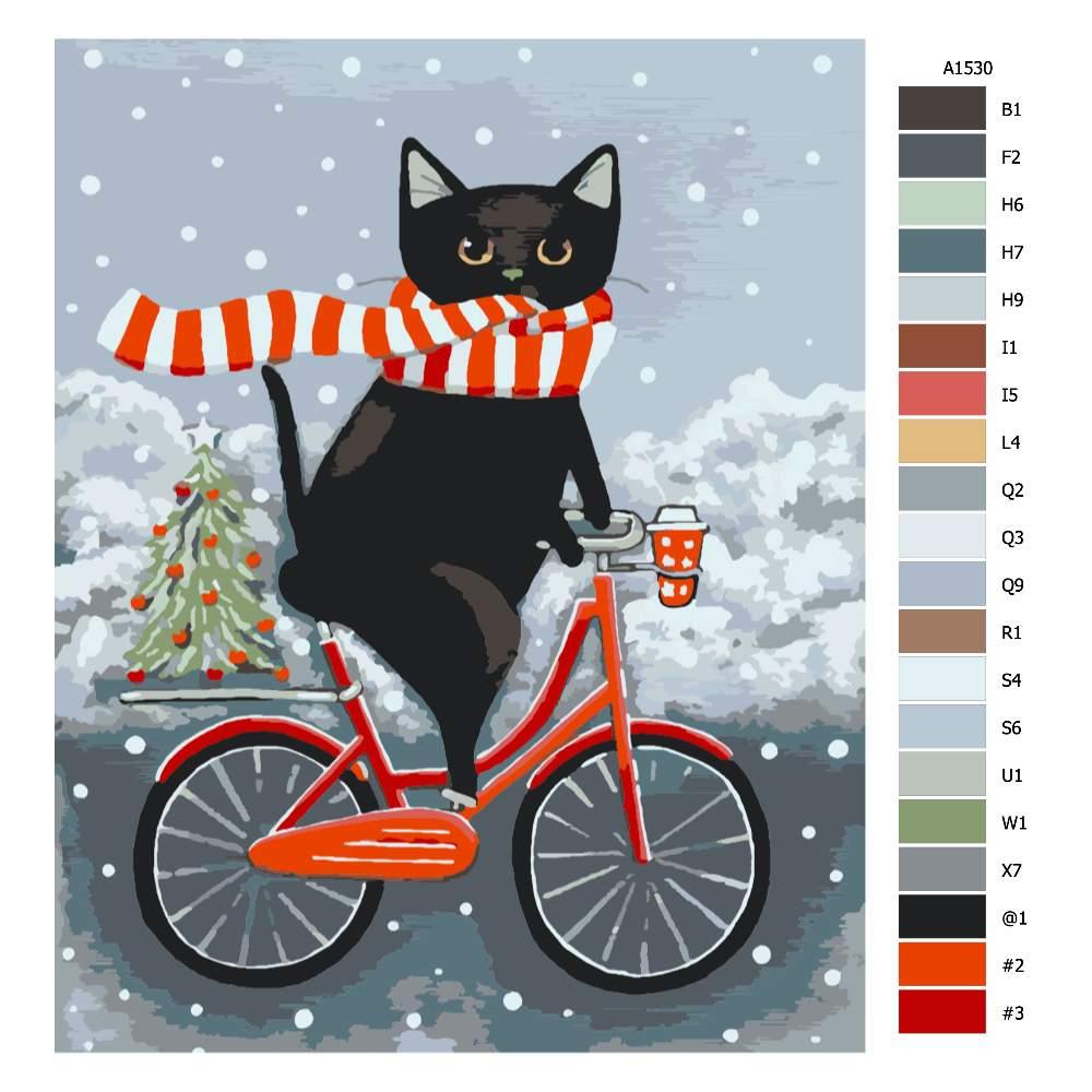Návod pro malování podle čísel Na kole s kocourem o Vánocích