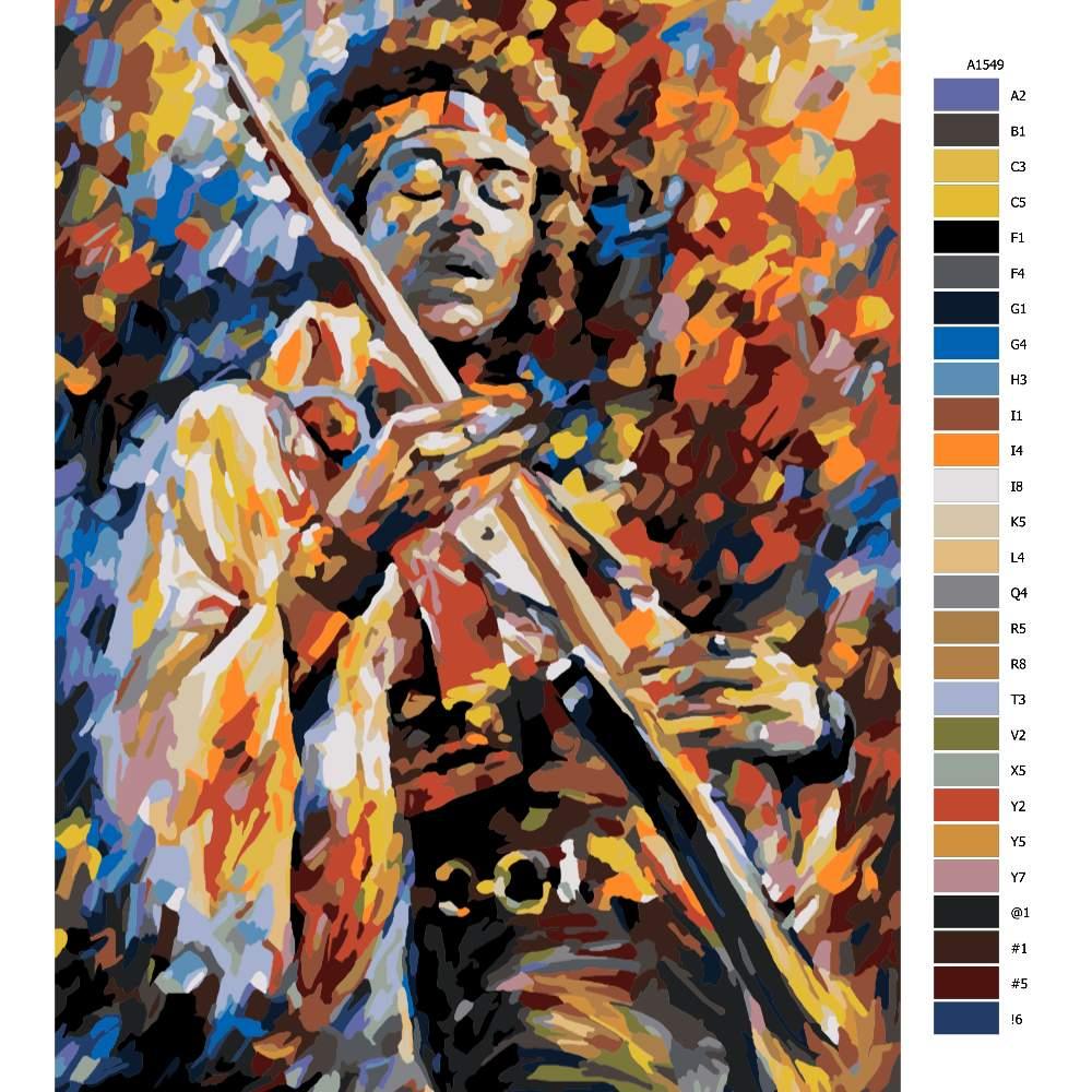Návod pro malování podle čísel Jimi Hendrix s kytarou