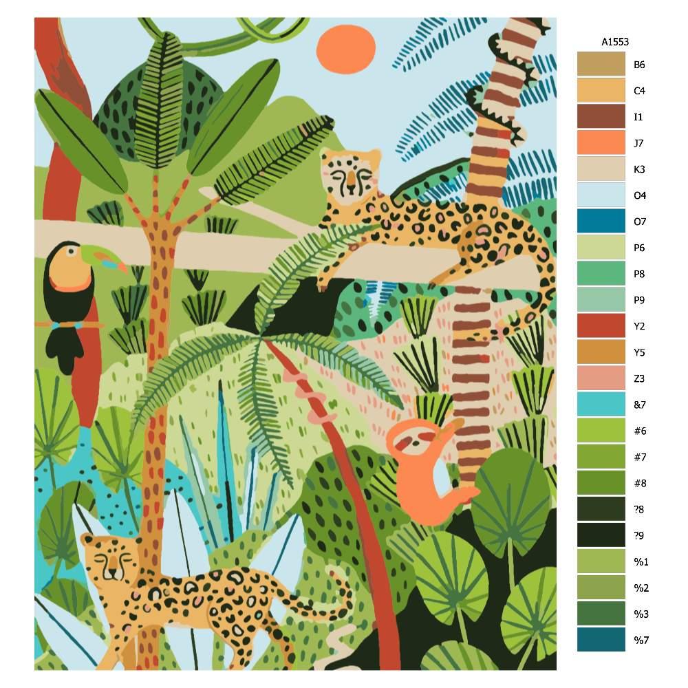 Návod pro malování podle čísel Kamarádí z jungle