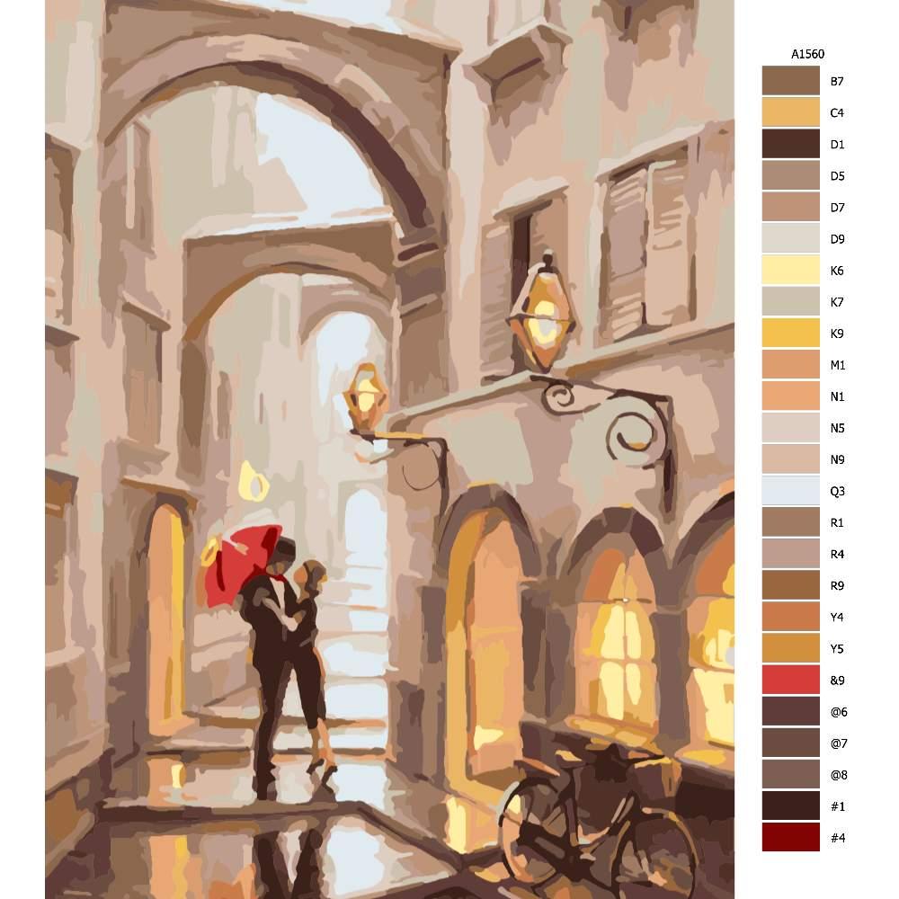Návod pro malování podle čísel Polibek na rozloučenou