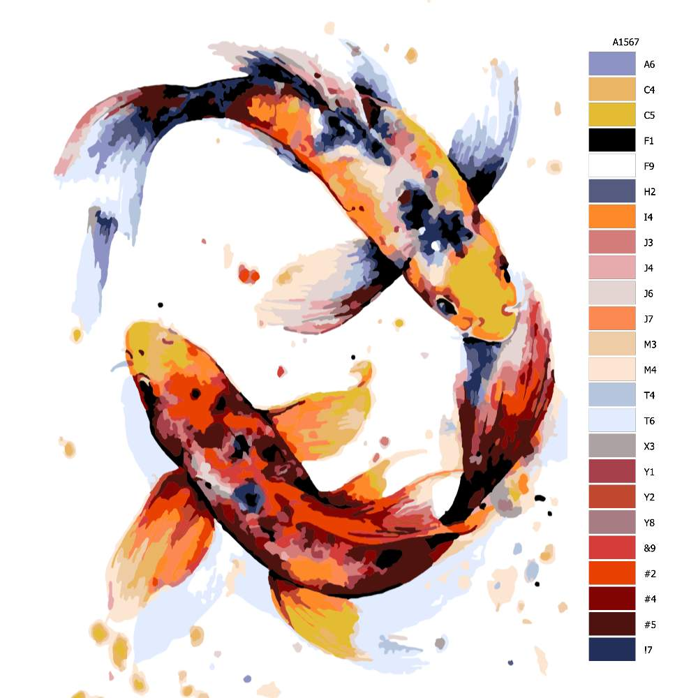 Návod pro malování podle čísel Koi kapr