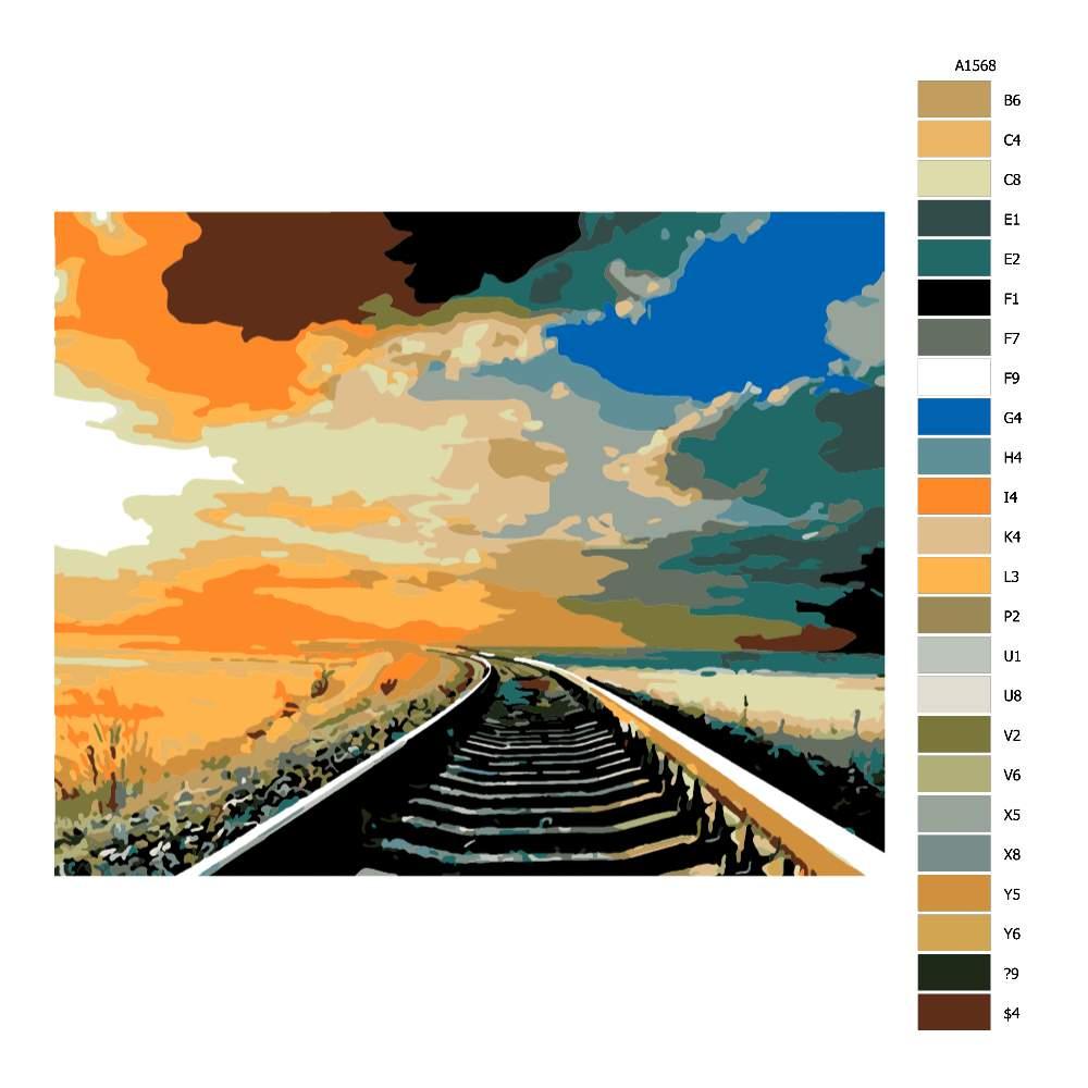 Malování podle čísel Koleje v západu slunce