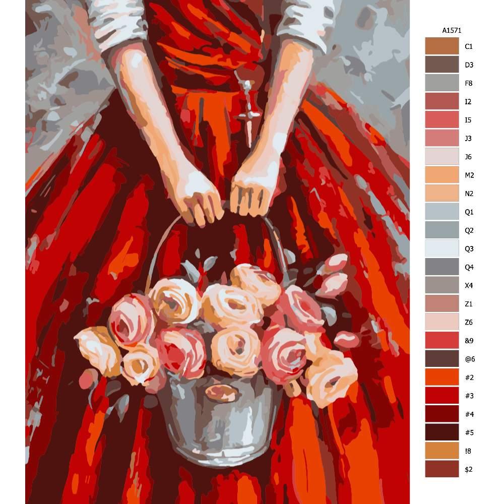 Malování podle čísel Věřící s růžemi