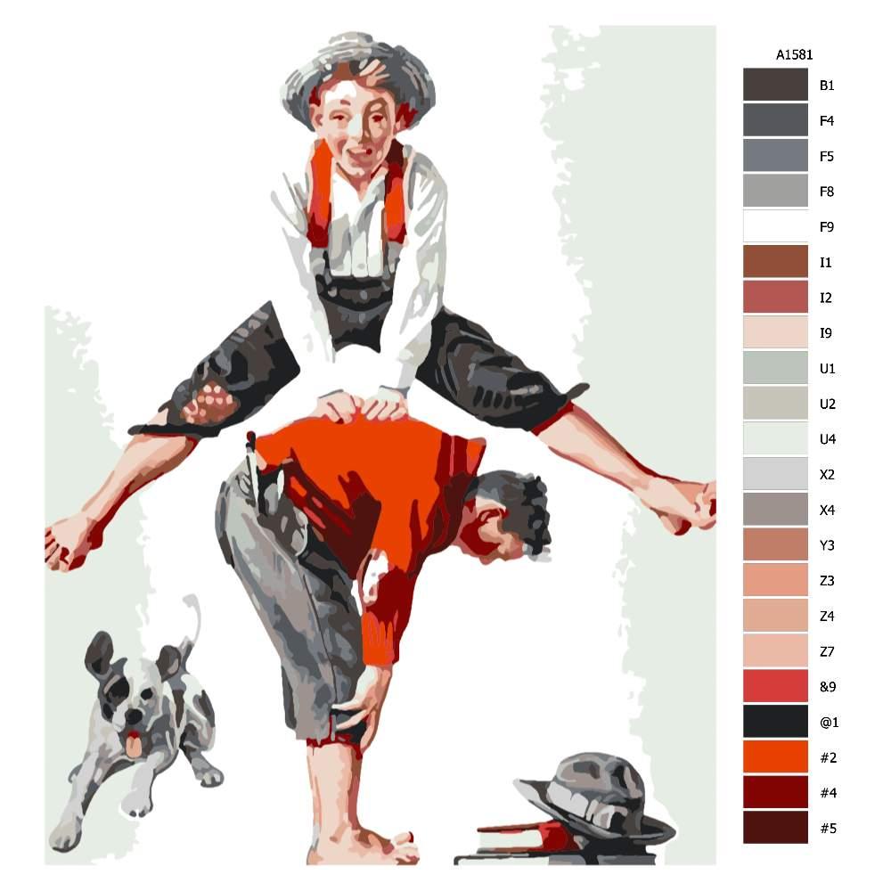 Návod pro malování podle čísel Přeskok Norman Rockwell