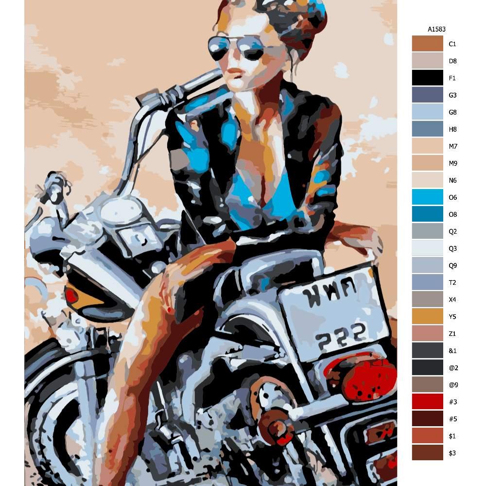 Návod pro malování podle čísel Kráska na motorce