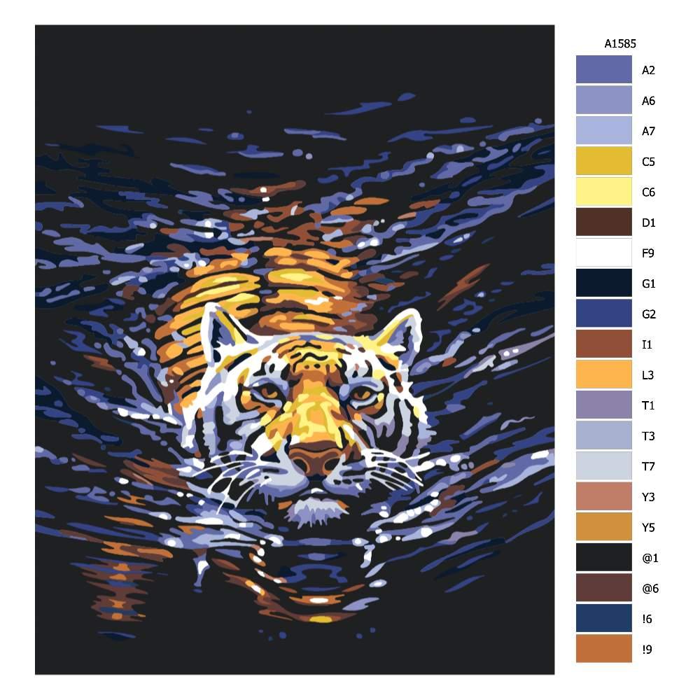 Návod pro malování podle čísel Plavající tygr