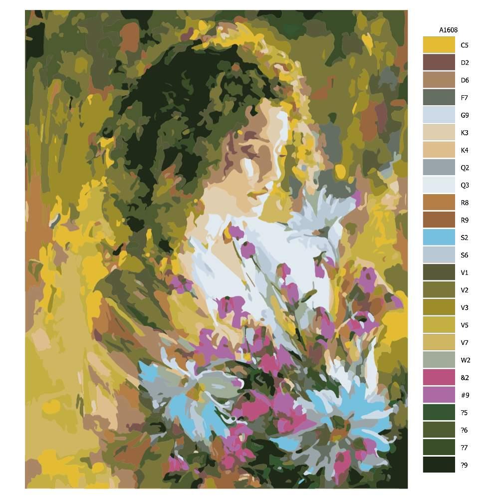 Návod pro malování podle čísel Kytka z lásky
