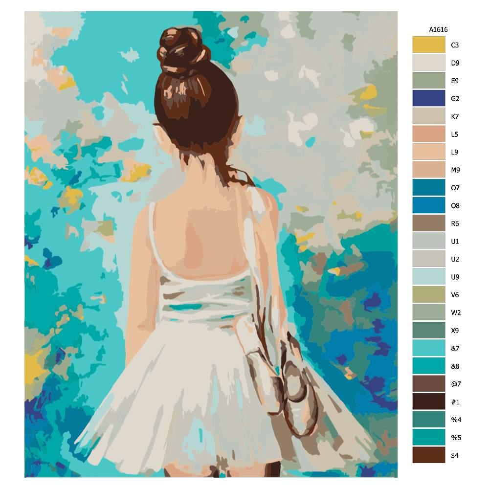 Návod pro malování podle čísel Malá balerína