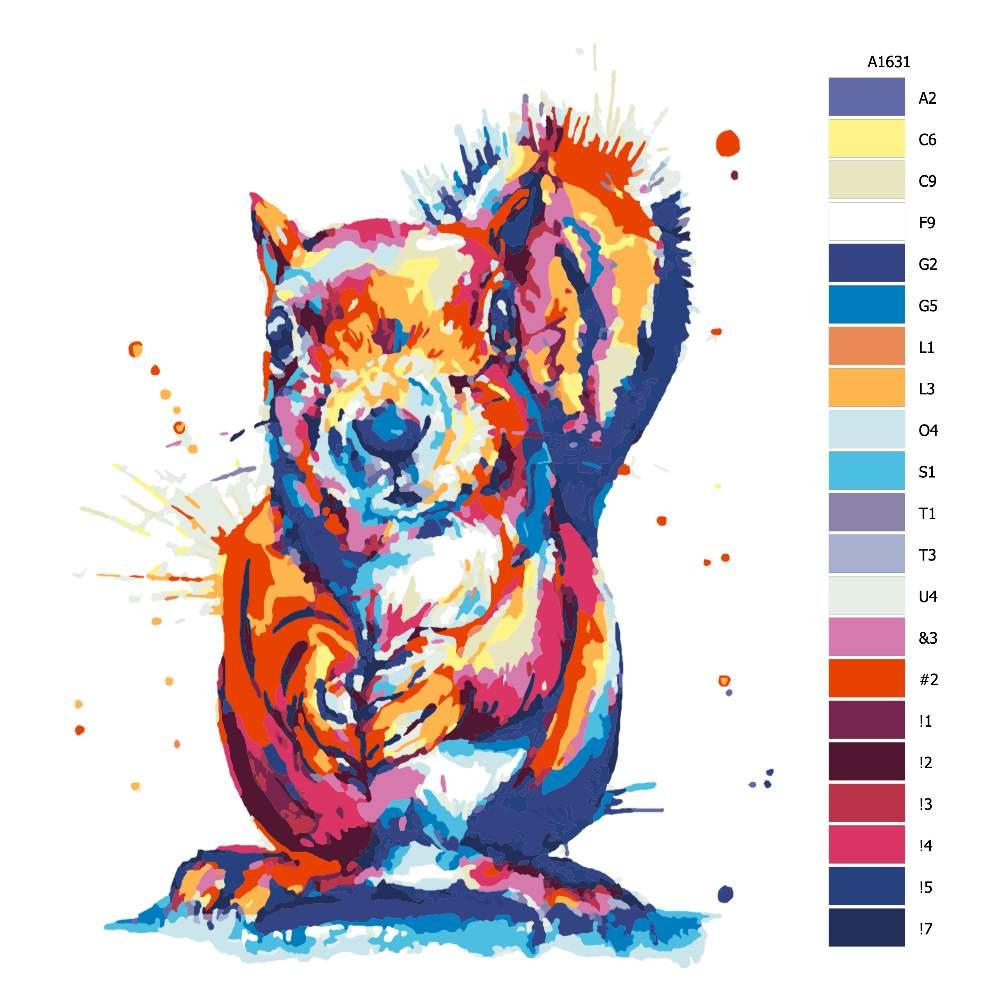 Návod pro malování podle čísel Veveruška v barvách