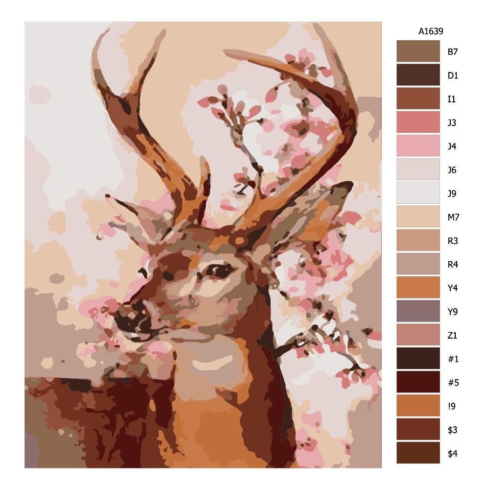 Návod pro malování podle čísel Jelen s růžovými květy