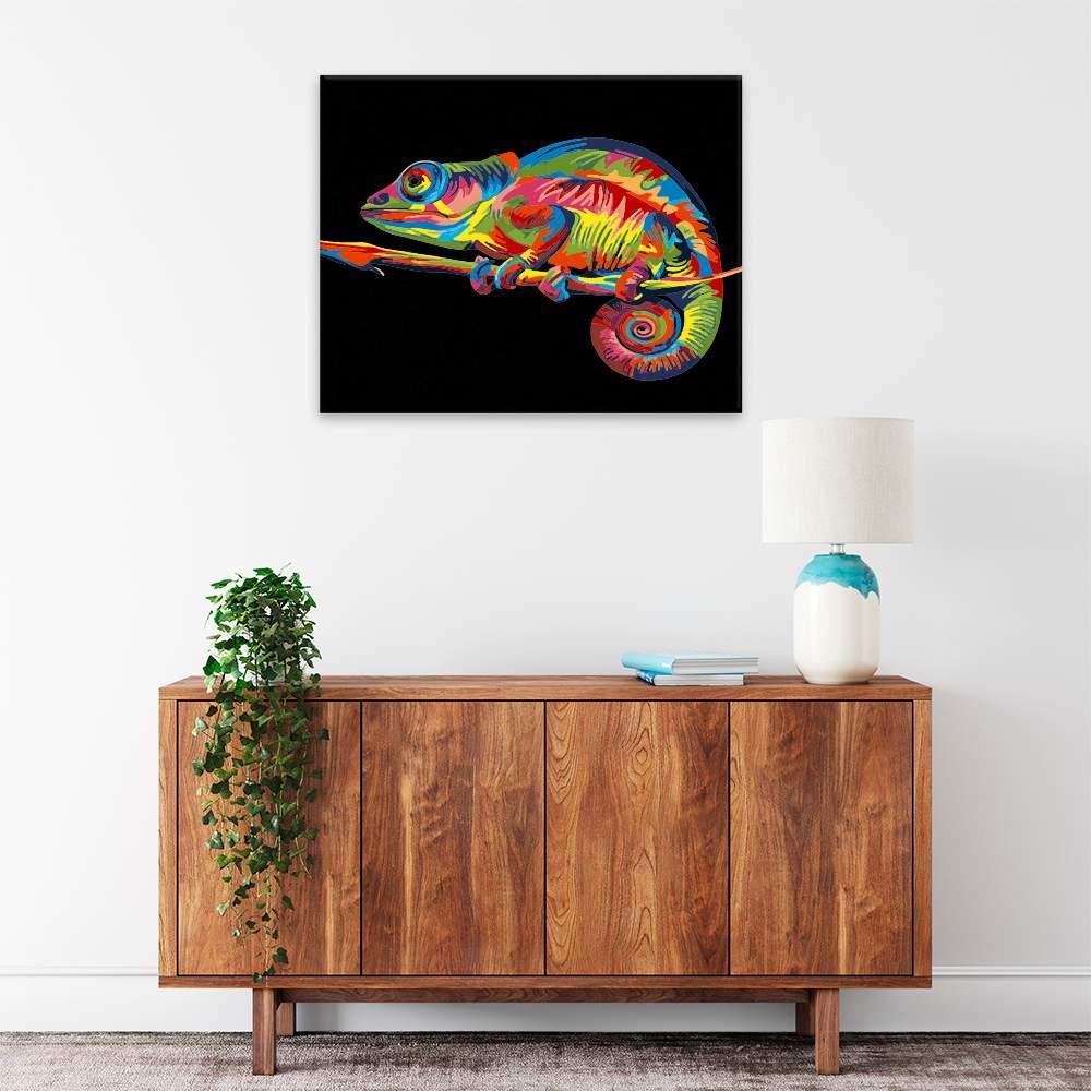 Malování podle čísel Chameleon v barvách