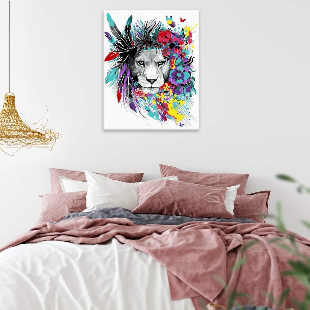 Malování podle čísel Lvice s květinovou hřívou