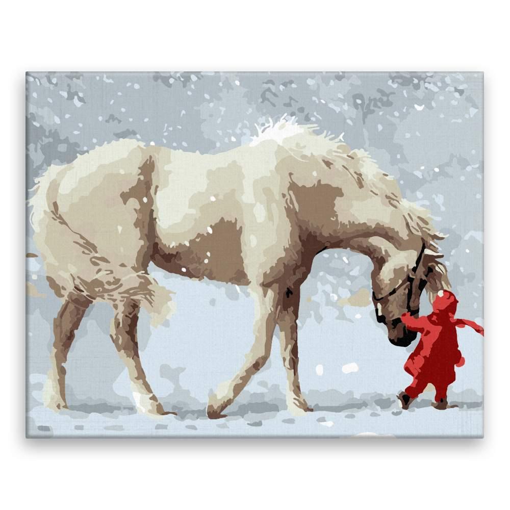 Malování podle čísel S koněm ve sněhu