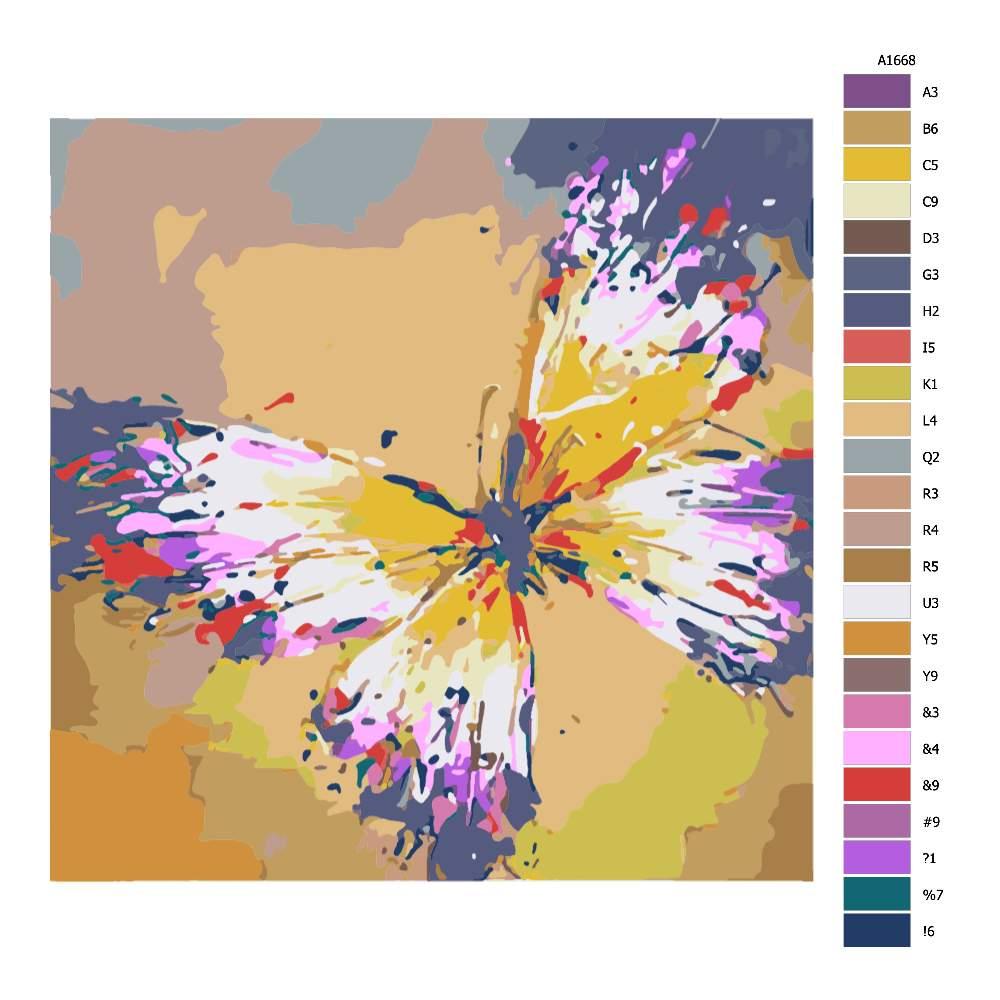 Malování podle čísel Barevný motýl