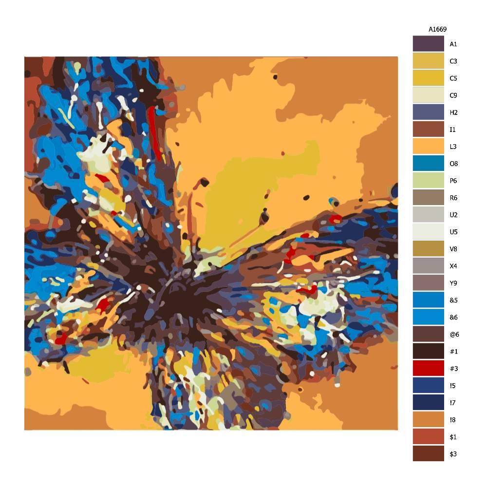 Malování podle čísel Motýl na kmeni