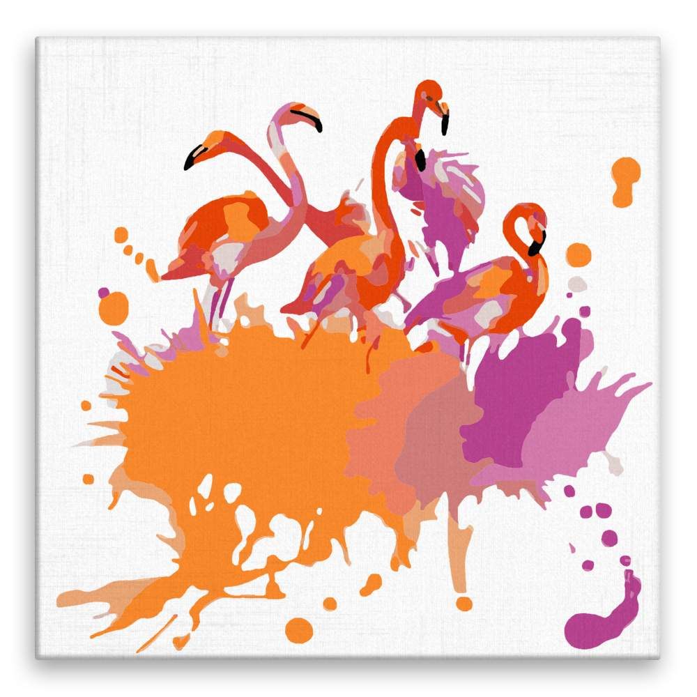 Malování podle čísel Pět plameňáků