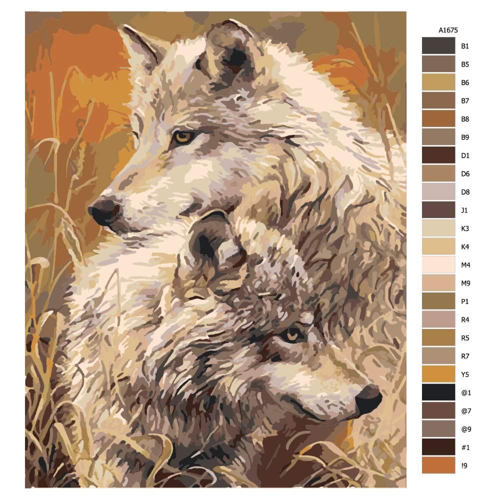 Návod pro malování podle čísel Vlci