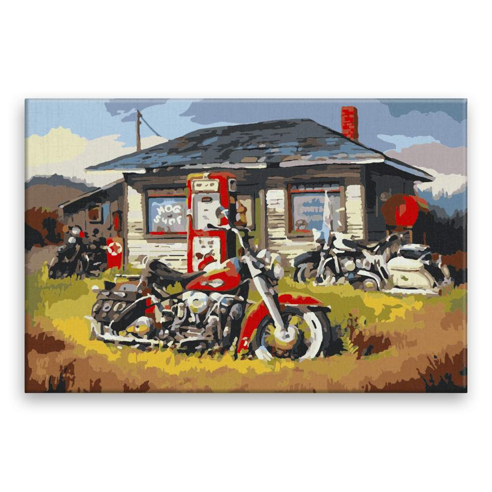 Malování podle čísel Motorky před domem