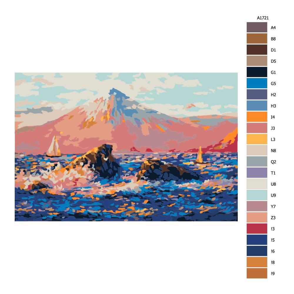 Malování podle čísel Sopka v pozadí