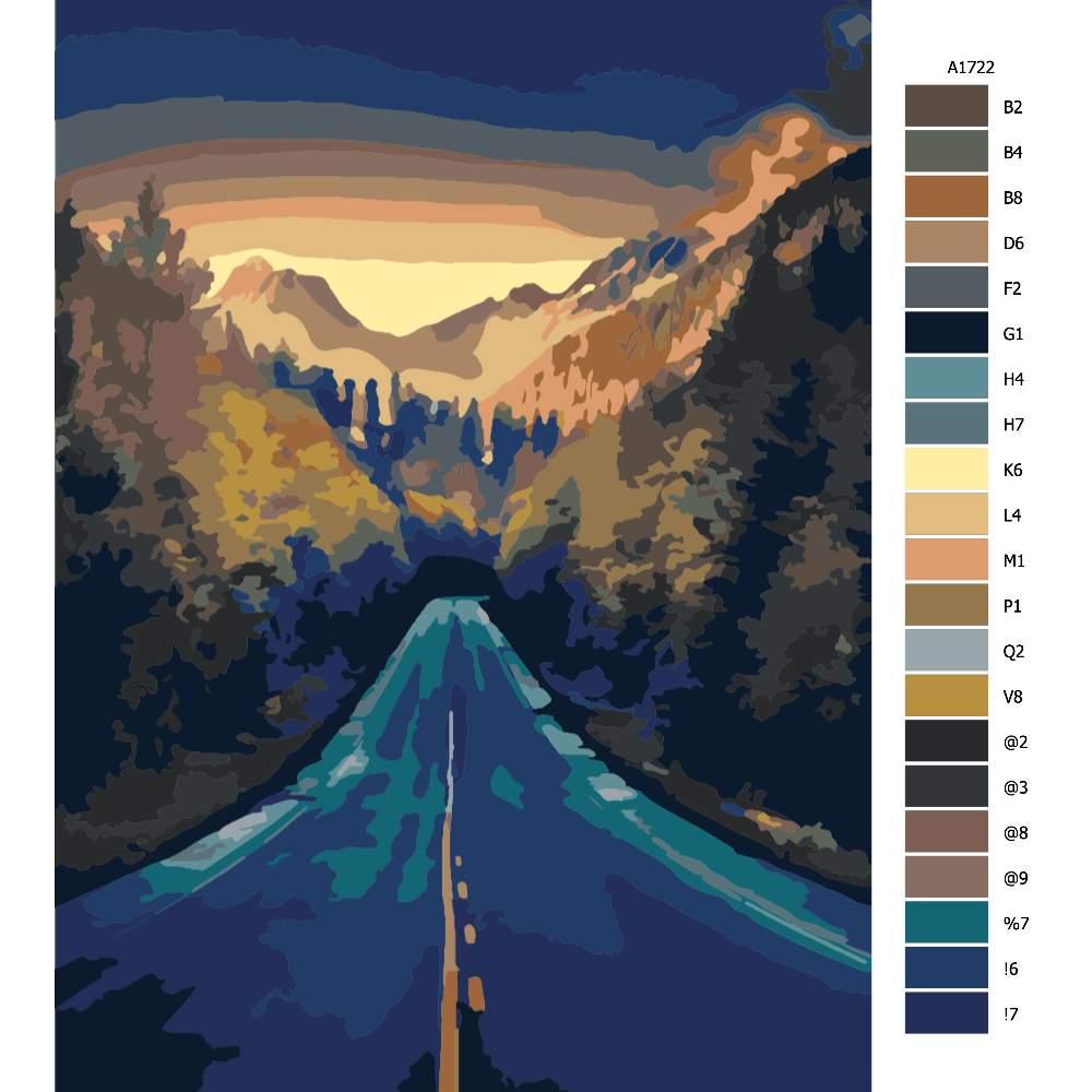 Návod pro malování podle čísel Cesta v horách