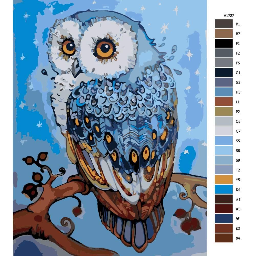 Návod pro malování podle čísel Tajemná modrá sova