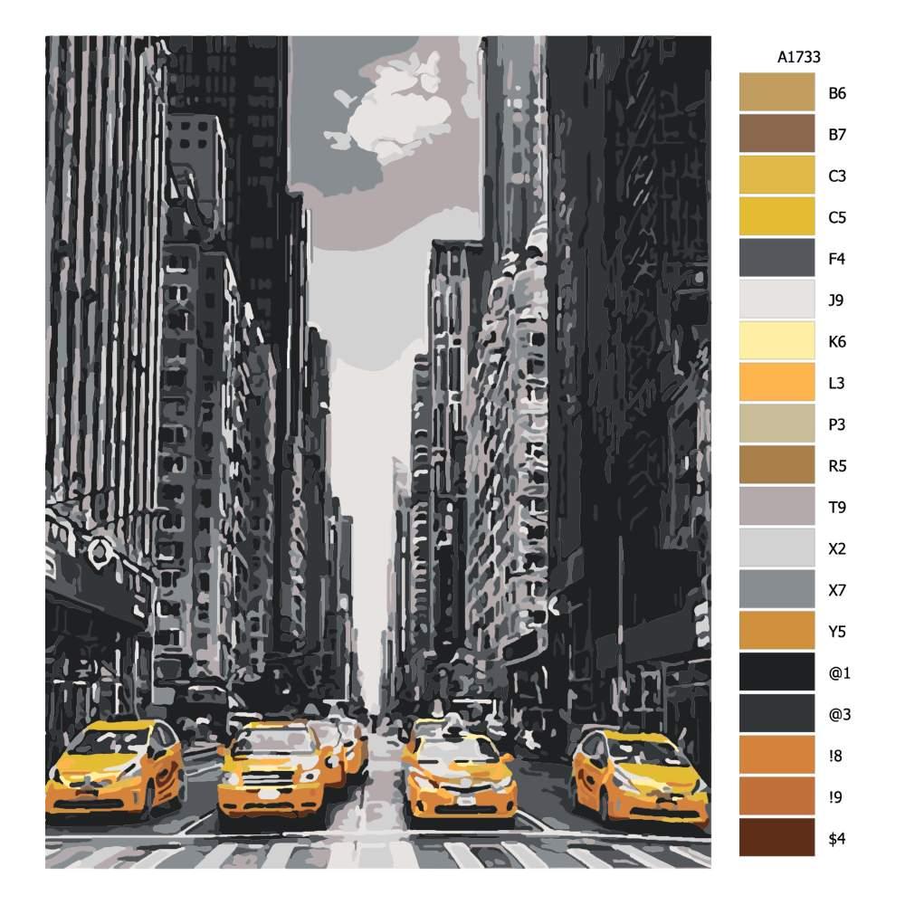 Malování podle čísel Taxíky v New Yorku