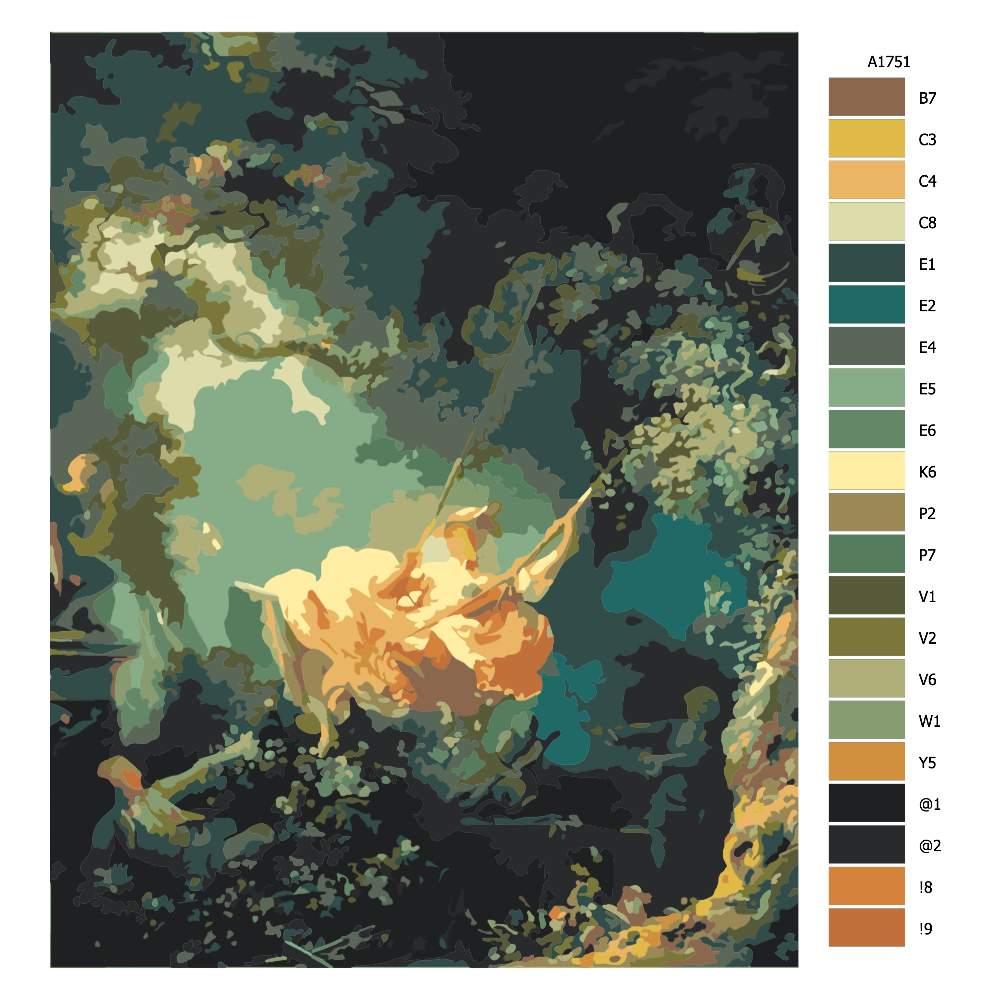 Návod pro malování podle čísel Šlechtična na houpačce